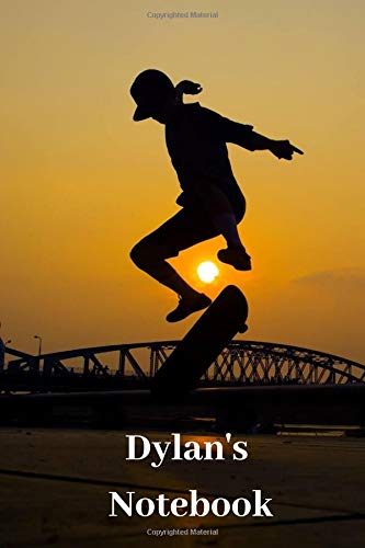 Dylan's Notebook: Personalised Skateboard Cover Notebook | 160 Ruled Pages | 6x9 Journal | Paperback Diary | Glossy Finish por Nikki J Dalby