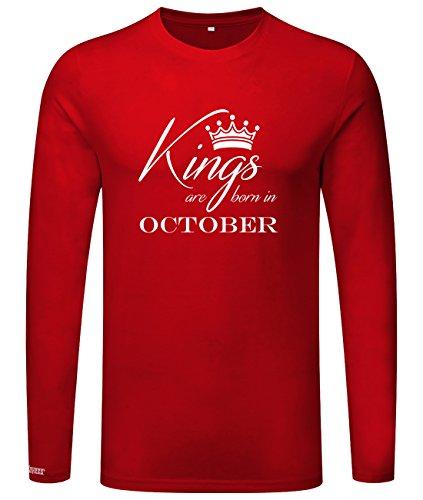 Kings are born in October - Geburtstag - Herren Langarmshirt Rot