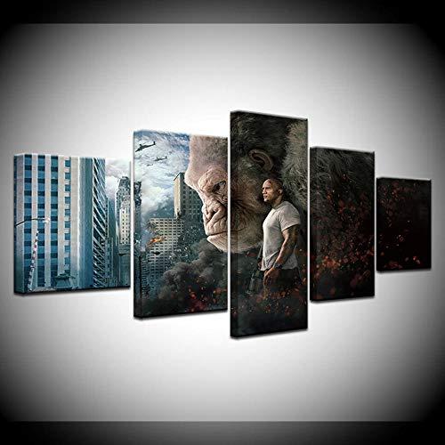 Agreey Ein 5 Stück Modulare Leinwand Malerei Dwayne Johnson Rampage Movie Poster HD Druck Auf Leinwand Wandkunst Bild Für Kinderzimmer Decor-40X60_40X80_40X100cm_Framed (Messungen Johnson Dwayne)