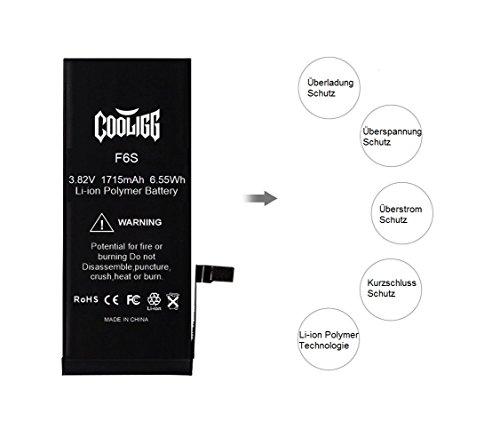 Cooligg Akku für iPhone 6S Ersatz Reparaturset inkl. Werkzeug Klebestreifen 1715mAh Batterie (Battery für iPhone 6S) - 7