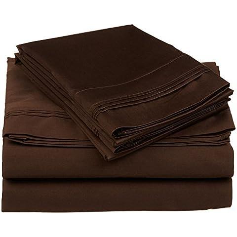 Impressions 650 fili, tasca profonda, a strato singolo, Set di lenzuola, cotone egiziano, cioccolato, California King, 4 pezzi