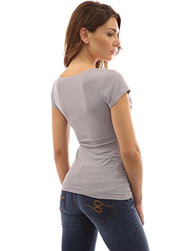 PattyBoutik femmes blouse cache-coeur à col V à manches courtes ruchées gris clair