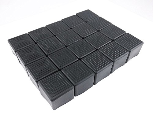 yueton 20Stück Quadratisch Gummi Stuhlbeinkappen Füße Pads Möbel Tisch Umfasst die Bodenschoner Passform für Stühle Innerhalb 2,5cm