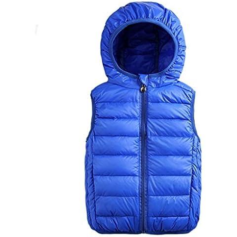 Chalecos para Niño Chaqueta abajo Sin Mangas Chaquetas Chaleco con capucha y cremallera Outwear Abrigos 2-7 años