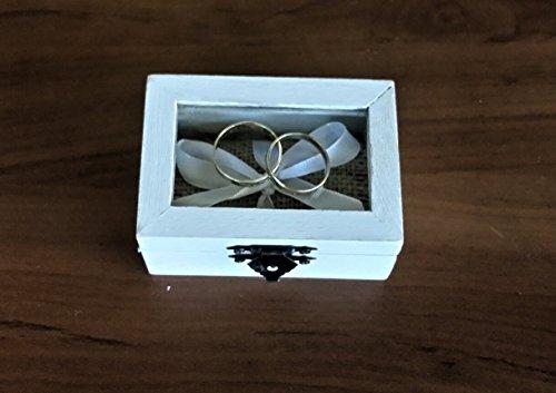 Anello Box di nozze bianche con piano in vetro, tela di iuta e nastro bianco di tenere gli anelli. ideale per matrimoni rustico .A dettaglio perfetto che non può mancare sul vostro giorno delle nozze.