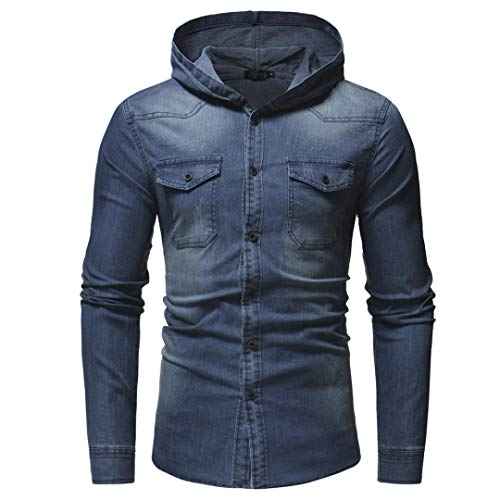 Navy Langarm Denim-shirt (Kanpola Herren Freizeithemd Jeans Hemden Dünne Jacke Langarm T-Shirt mit Kapuze Pullover Sweatshirt Kapuzenpullover Kapuzenjacke Jeanshemd (Blau, 46))