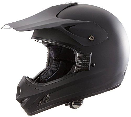 Motorradhelm Motocrosshelm Endurohelm einfarbig matt schwarz + Sturmhaube - L