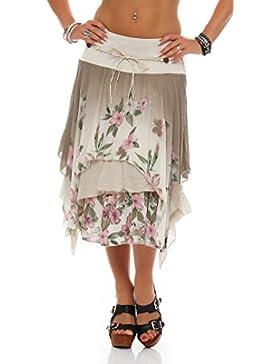 bedcc48735 ZARMEXX Mujer Earing roca hasta la rodilla Falda de verano Estilo de capas  Estampado de flores