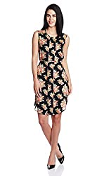 Park Avenue Woman Rayon Pleated Dress (PWEA00381-K8_Black_91)