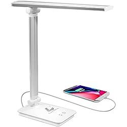 Lámpara Escritorio LED,Lámpara de Mesa USB regulable Recargable (Cuidado Especial Para los Ojos, 5 modos de colores x 3 niveles de dimmer, Control táctil, bajo consumo de energía)