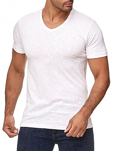 Herren T-Shirt - V-Ausschnitt - Slim-Fit/Figurbetont - Oversize - Meliert - Modernes Kurzarm Vintage Shirt Weiß XXL