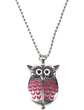 TOOGOO(R) Silbern und Rosa Mini Eule Taschenuhr Halskette