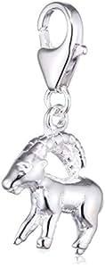 SilberDream 925 Sterling Silber Charm Sternzeichen Steinbock Anhänger für Armband Kette Ohrring FC7101