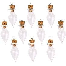 10pcs Mini Botellas Deriva Vidrio Corcho Forma Lágrima Bricolaje Decoración Transparente
