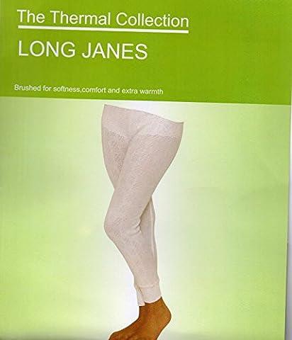 Damen Weiß Winter Warm Thermo Lange Unterhose Hose, Baumwolle / Polyester, Weiß, M