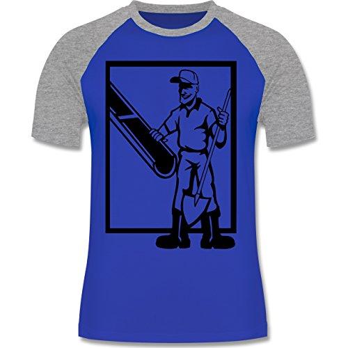 Handwerk - Betonmischer - zweifarbiges Baseballshirt für Männer Royalblau/Grau meliert