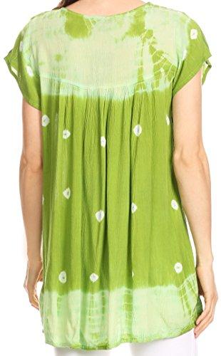 Sakkas Haut Paysanne Manche Courtes Tie Dye Guingan avec Broderie Paillettes Vert
