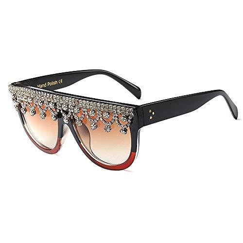 XHCP Frauen Klassische Sonnenbrille Graceful Big Square Kristall Sonnenbrille Für Frauen Übergroße Schwarze Farbe UV Schutz Fahren Sonnenbrille Lady 's Persönlichkeit Sonnenbrille (Farbe: Braun)