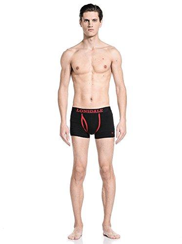 Lonsdale Herren Boxershort Berrow - Doppelpack Black/Red