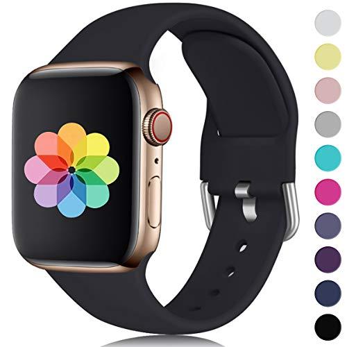 HUMENN Kompatibel mit Apple Watch Armband 38mm 40mm 42mm 44mm, Weiches Silikon Klassisch Sport Ersatzband für iWatch Series 5,4,3,2,1, 38mm/40mm-M/L Schwarz