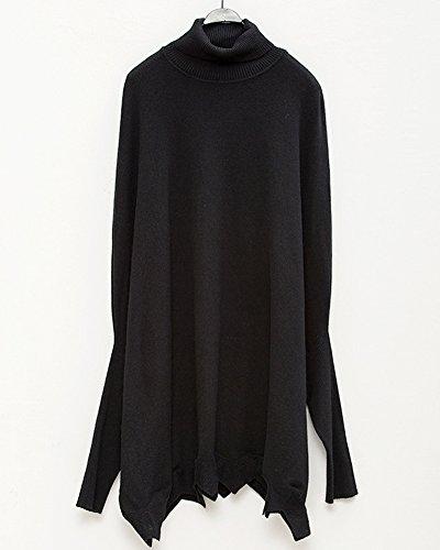 Maglione da Donna Maglia Pullover Allentato Dolcevita Collo Alto Manica Lunga Pipistrello Maglietta Black