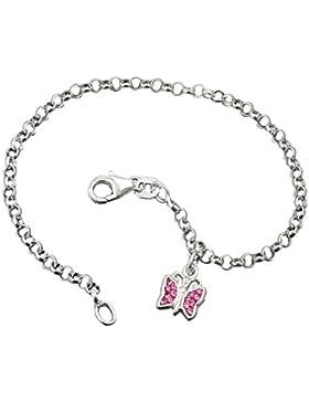 Armband Armkette mit Schmetterling Zirkonia pink 925 Silber 16cm Armschmuck