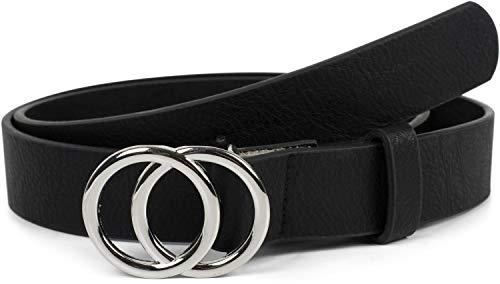 styleBREAKER Damen Gürtel Unifarben mit Ringschnalle, Hüftgürtel, Taillengürtel 03010093, Größe:85cm, Farbe:Schwarz-Silber