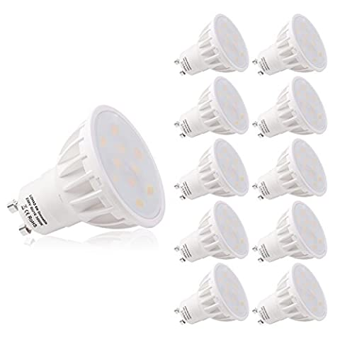 LOHAS Dimmable GU10 6W LED Beautiful 3000K Warm White 50W Replacement for Halogen bulb ,120°Beam Angle,Ultra Bright LED Light Bulbs, Pack of 10
