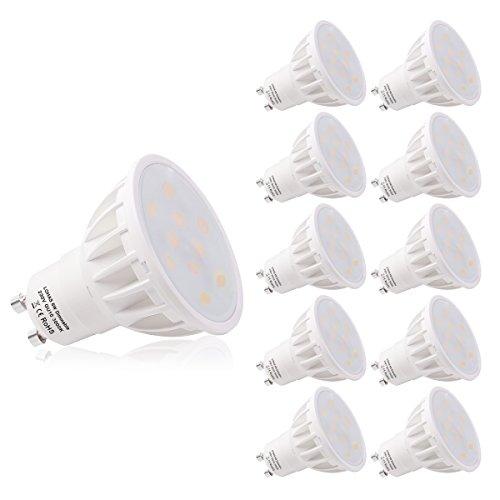 LOHAS® GU10 LED Lampe, 6W Dimmbar LED GU10 Ersatz für 50W Halogenlampen, Warmweiß 3000K, 500lm, CRI>80, 120 Grad Abstrahwinkel, LED Birnen, LED Leuchtmittel, 10er Pack