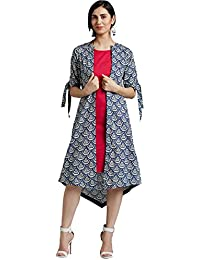Desi Fusion Women's Cotton Printed Shrug With Inner Dress (Blue)
