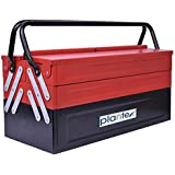 Plantex High Grade Metal Tool Box for Tools/Tool Kit Box for Home and Garage/Tool Box Without Tools-5 Compartment(Red & Black)