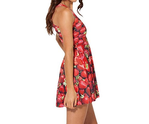 JTC Femme Robe Court Sans Manche en Fibre Polyester Seul une Taille Fille rouge fraise