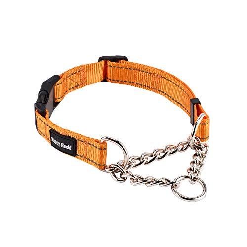 Kaka mall Collare Cane Martingale da Addestramento Taglia Medio Grande Riflettente Regolabile Robusto Sicuro Comodo per Hunter Passeggiata Viaggio (Arancione, M)