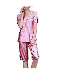0e75a79f1 Pijamas Mujer Mujer Verano Satín Splice Encaje Camiseta Ropa De Dormir + Shorts  Conjunto De Pijama Vintage Color Sólido Manga Corta…