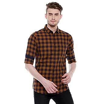 Dennis Lingo Men's Checkered Slim Fit Casual Shirt (C415_Mustard_S_Mustard_S)