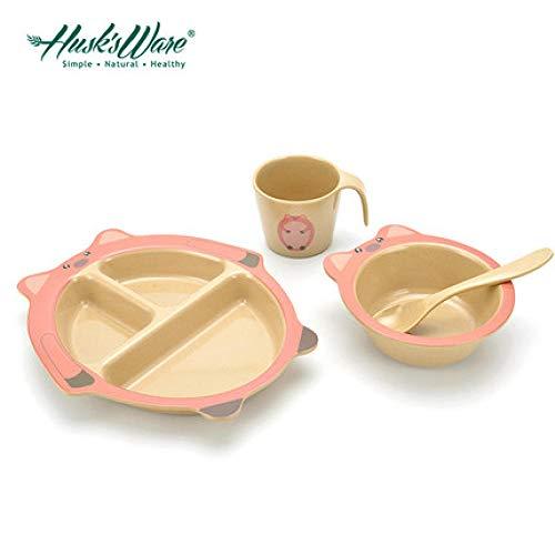 Husk's Ware Support Mikrowelle Das Geschirr der Reishülsenkinder stellte Babyschüssellöffel-Nahrungsergänzungsschüssel-Saugnapfschüssel-Babyplattenkarikatur ein