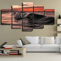 OLAJSDD Canvas wall art unframed images kitchen restaurant decoration 5 pieces sunset sea Sea view living room HD printed poster