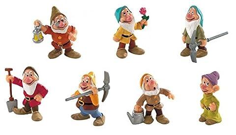 Bullyland Die sieben Zwerge - alle 7 Figuren + Gratis Walt Disney Ansteckbutton