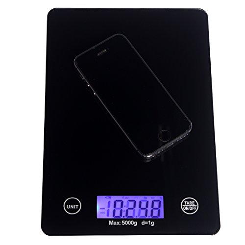Andux professionelle Glas elektronische Küchenwaage Touch-Tasten Ernährung Haushaltswaagen Küchenwaage 5kg / 1g CFC-01 -