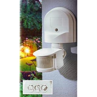 Powerfix Profi Bewegungsmelder AP 180°, weiß Ideal für Halogen Energiespar und LED -Leuchten im Innen und Außenbereich (IP 44)