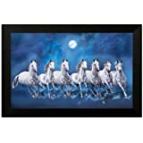 SAF 6543 Seven Running Horses||vastu Painting For Home And Office||Seven Lucky Running Horses Painting || 7 Horses Painting ||seven Horses||vastu Horses||Shyam Art 'N' Frame Exclusive Framed Wall Art Paintings(Wood,35cmx 2Cmx 50Cm Framed Painting)