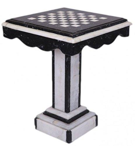 Casa Padrino Luxus Barock Spieltisch Schach/Dame Tisch Marmor Schwarz - Weiss - Möbel Antik Stil Art Deco Jugendstil -