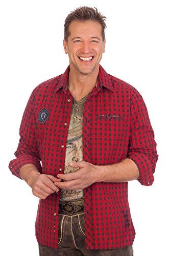 Krüger-Dirndl H1614 - Trachtenhemd mit Langem Arm - Ulli - Rot, Größe XXXL