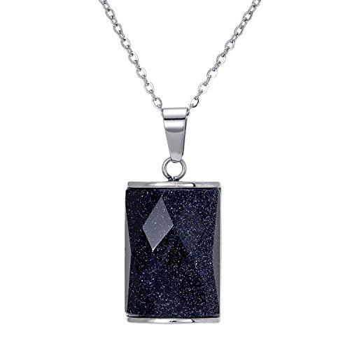 nen Augen audbrave Edelstahl Halskette mit Transparent & Big Sandstein Blau Kristall Anhänger, Personalisierte Geschenke für Geburtstag, Unisex Charms (Valentine Paar Outfits)