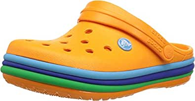 crocs Unisex's CB Rainbow Band Clog K Orange Clogs-12 Kids UK (C12) (205205-80O)