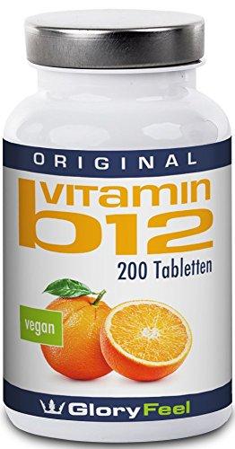 Der VERGLEICHSSIEGER 2018* Vitamin B12 200 Vegane Tabletten 1000 µg - B12 trägt zur Verringerung von Müdigkeit und Ermüdung bei - Reines B12 Methylcobalamin ohne Magnesiumstearate – 7 Monatsvorrat hergestellt in Deutschland