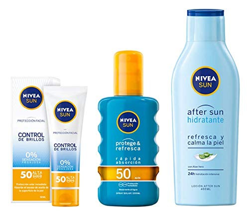 NIVEA SUN crema solar facial FP50 + Protege & Refresca Spray Solar FP50 + After Sun Loción Hidratante