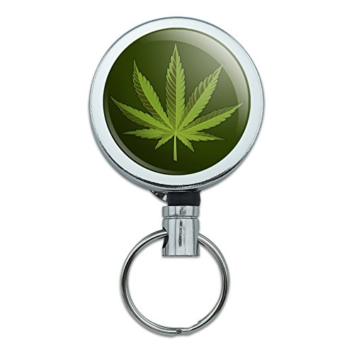 Marijuana Leaf Design Cannabis Topf Heavy Duty Metall Retractable Reel ID Badge Key Card Tag Holder mit Gürtel Clip (Clip Mary Jane)