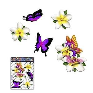 Fee Fantasie Frangipani Plumeria Weiße Blume + Schmetterling Tier Abziehbild Auto Aufkleber - ST00062WT_SML - JAS Aufkleber