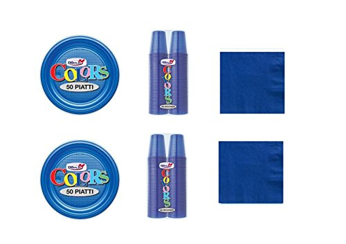 Cdc - kit n°14 Coordinato Monocolore Blu da tavola per festa e party ed ogni ricorrenza - ( 100 piatti, 100 bicchieri , 100 tovaglioli )